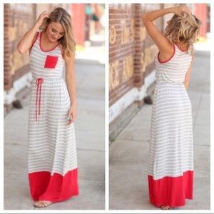 NWT. Boutique Striped Maxi Dress